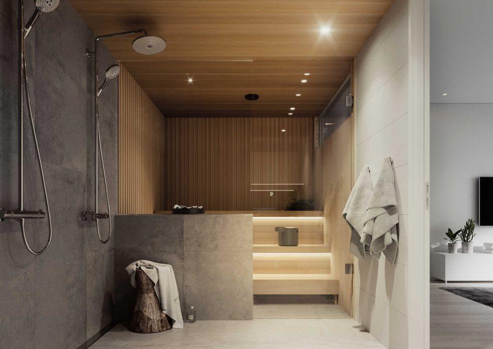 A-, B- ja D-talon kylpyhuone ja sauna